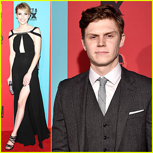 Emma Roberts & Fiance Evan Peters Dress To Impress at 'American Horror Story: Freak Show' Premiere