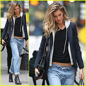 Gisele Bundchen Keeps Jeans Up By Wrapping Ribbon Around Her Waist