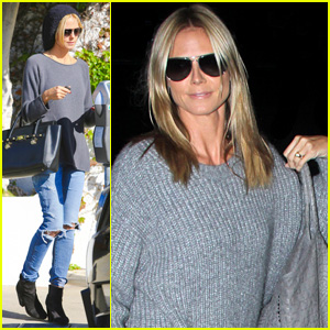 Heidi Klum Gets Her Hair Touched Up Before Flying Out of L.A.