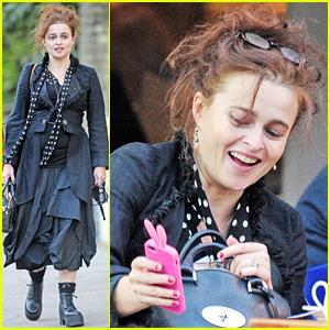 Helena Bonham Carter Wears an Interesting Ensemble For Lunch in London