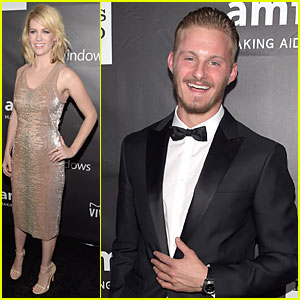 January Jones & Alexander Ludwig Bring Star Power to Bulgari Table at amfAR LA Inspiration Gala 2014