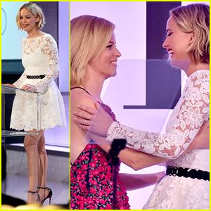 Jennifer Lawrence Introduces Honoree Elizabeth Banks at Elle Women in Hollywood