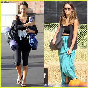 Jessica Alba Treats Herself to Solo Yoga Class Before More Pumpkin Picking!