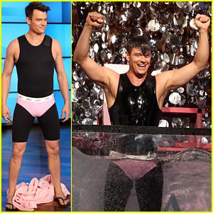 Josh Duhamel Wears Pink Underwear to Get In the 'Ellen' Dunk Tank - Watch Now!