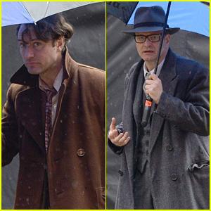 Jude Law & Colin Firth Film 'Genius' Together in the Rain!