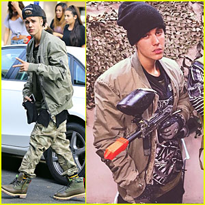 Justin Bieber is Locked & Loaded With Paintbull Gun