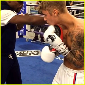 Justin Bieber Hits the Boxing Ring with Floyd Mayweather Jr.!