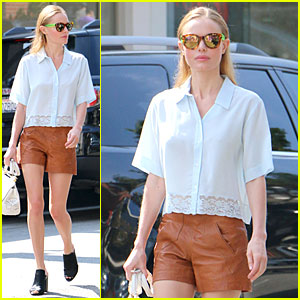 Kate Bosworth Makes Fashion Statement in Brown Leather Shorts