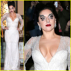 Lady Gaga Shows Off Some Skin in a Low Cut Dress