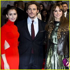Lily Collins & Suki Waterhouse Sandwich in Sam Claflin at 'Love, Rosie' Premiere