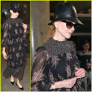 Nicole Kidman Wears a Floral Frock for Flight Home from Seoul