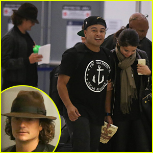 Orlando Bloom & Selena Gomez Walk Just Steps Apart From Each Other at the Airport