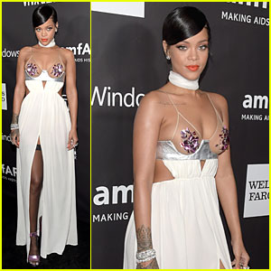 Rihanna Draws Attention to Her Boobs at amfAR LA Inspiration Gala