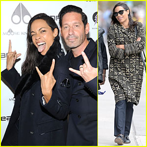 Rosario Dawson Sticks Out Her Tongue at Moose Knuckles Launch