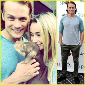 Outlander's Sam Heughan Cuddles Up to a Puppy at Saving Spot!