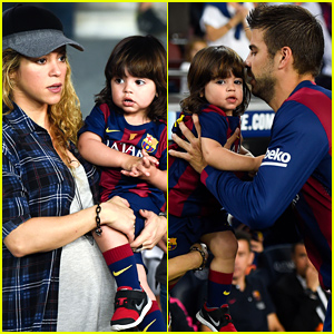Shakira & Her Son Milan Cheer On Gerard Pique At His Big Game!