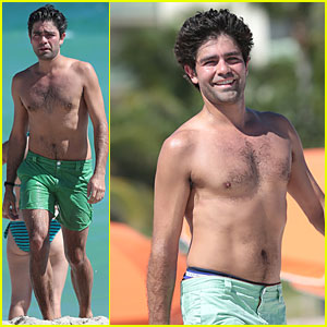 Shirtless Adrian Grenier Shows Off His Undies in Miami