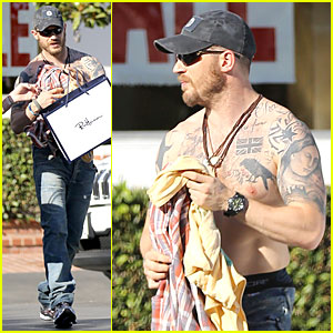 Tom Hardy Shows Off Shirtless Tattooed Body On Shopping Trip