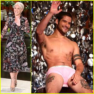 Teen Wolf's Tyler Posey Strips Down to His Underwear for Ellen's Dunk Tank Challenge!