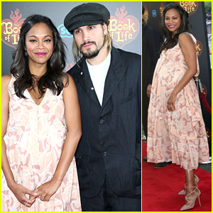 Zoe Saldana Holds Her Baby Bump on 'Book of Life' Red Carpet