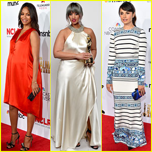 Zoe Saldana Brightens Up Her Baby Bump for the ALMA Awards