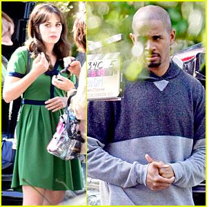 Zooey Deschanel Goes Green To Shoot 'New Girl' With Damon Wayans, Jr.