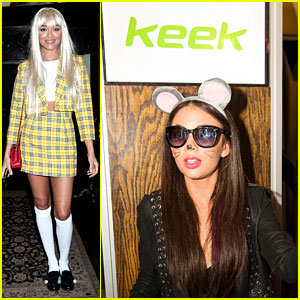 Ashley Madekwe & Janel Parrish Have Fun with Keek at Just Jared's Freak Show!