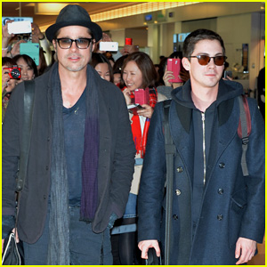 Brad Pitt & Logan Lerman Hit Tokyo for 'Fury' Press Tour!