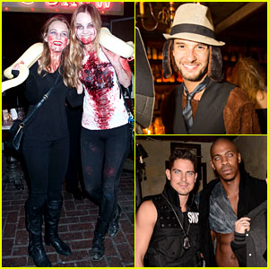 Britt Robertson & Liana Liberato Go Wild with a Snake at Just Jared's Halloween Party!