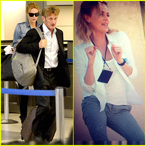 Charlize Theron & Sean Penn Land at LAX Airport After Wrapping 'Last Face'