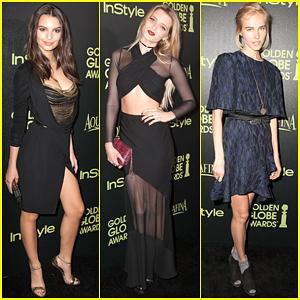 Emily Ratajkowski Shows Off Her Long Legs at Golden Globes Award Season Celebration