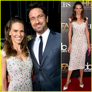 Gerard Butler & Hilary Swank Have 'P.S. I Love You' Reunion at Hollywood Film Awards 2014!