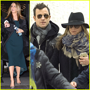 Jennifer Aniston & Justin Theroux Land in NYC Together After Short London Trip