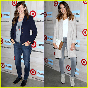 Jennifer Garner & Jessica Alba Dress Down in Jeans for Toms