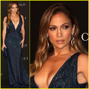 Jennifer Lopez Gets Daring in a Low Cut Dress at the LACMA Art + Film Gala