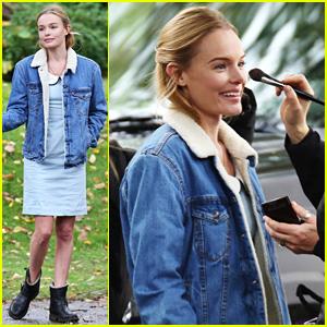 Kate Bosworth Keeps Smiling On Set Despite the Rainy & Gloomy Day