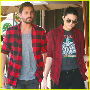 Kendall Jenner & Scott Disick Match in Red Flannel Shirts During Lunch
