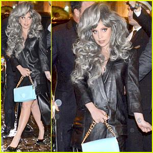 Lady Gaga Brings Attention to Her Big Grey Wig in Milan