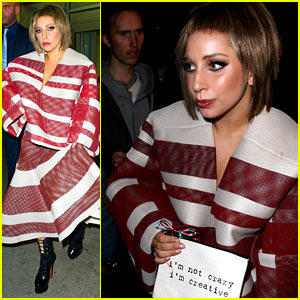 Lady Gaga Holds a Sign Saying 'I'm Not Crazy, I'm Creative'