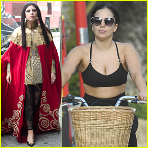 Lady Gaga Shows Some Cleavage During Fun Bike Ride in Spain