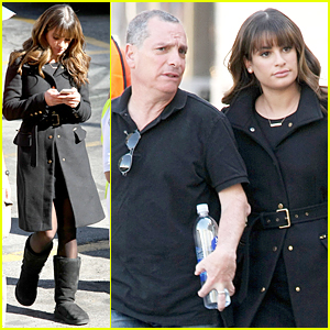 Lea Michele Has a Father-Daughter Moment on 'Glee' Set