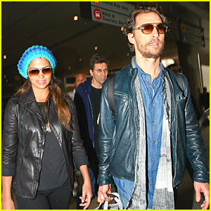 Matthew McConaughey & Wife Camila Alves Wear Leather Jackets at LAX Airport on Veteran's Day