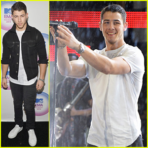 Nick Jonas Gets Soaked From the Rain for 'Jealous' MTV EMAs 2014 Kick Off Performance (Video)