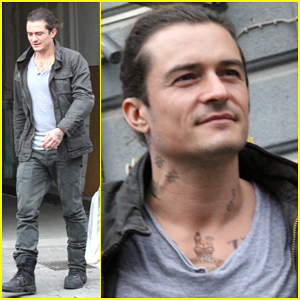 Orlando Bloom Shows Off His Handsome Smile on the 'Unlocked' Set