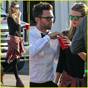 Adam Levine Gets an On Set Surprise From Behati Prinsloo
