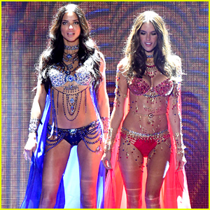 ff37fe876c Adriana Lima   Alessandra Ambrosio Hit Victoria s Secret Fashion Show Runway  Wearing the Fantasy Bras!