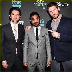 Chris Pratt Supports 'Parks & Recreation' Co-Star Aziz Ansari at Power of Comedy