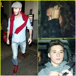 David Beckham Wears Double Denim for Dinner with Family