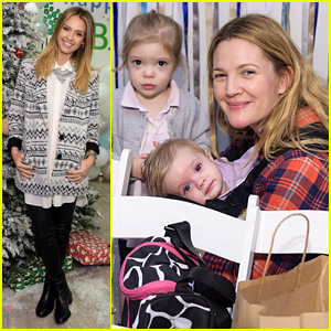 Drew Barrymore Brings Daughters Frankie & Olive to Jessica Alba's Holiday Party