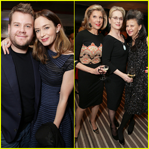 Emily Blunt, Meryl Streep, & James Corden Get Festive at 'Into The Woods' Holiday Celebration!